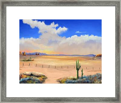 Framed Print featuring the painting Setting Desert Sun by Sena Wilson