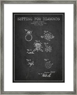 Setting For Diamonds Patent From 1918 - Charcoal Framed Print by Aged Pixel