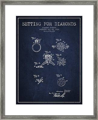 Setting For Diamonds Patent From 1918 - Navy Blue Framed Print by Aged Pixel