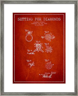 Setting For Diamonds Patent From 1918 - Red Framed Print by Aged Pixel