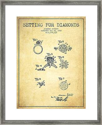 Setting For Diamonds Patent From 1918 - Vintage Framed Print by Aged Pixel