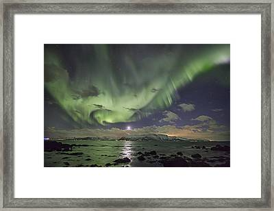 Setting Moon And Aurora Framed Print