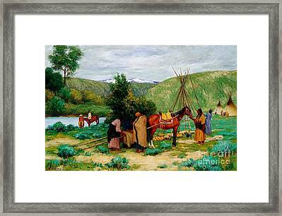 Setting Up Camp - Little Big Horn Framed Print by Pg Reproductions