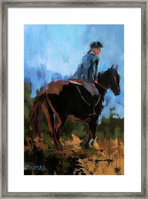 Setting Up The Jump Framed Print by Donna Thomas