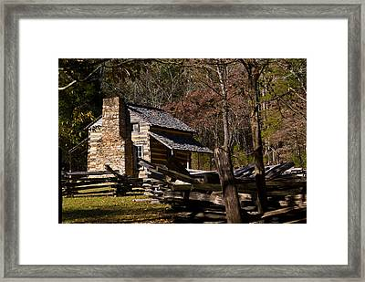 Settlers Cabin Cades Cove Framed Print