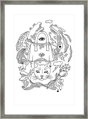 Seven Cats In Tokyo Contour Framed Print by Kenal Louis
