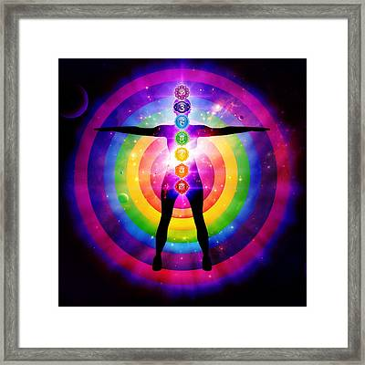 Seven Chakra Centers Illustration With Outer Universe Framed Print by Serena King