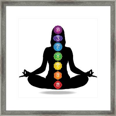 Seven Chakra Illustration With Woman Silhouette Framed Print by Serena King