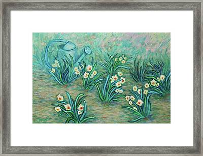 Framed Print featuring the painting Seven Daffodils by Xueling Zou