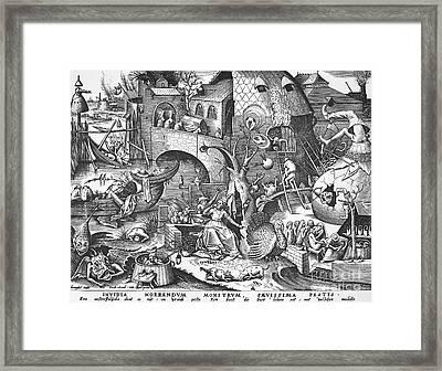 Seven Deadly Sins, 1558 Framed Print by Granger