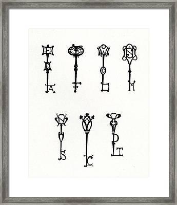 Seven Designs Of Initial Keys Framed Print