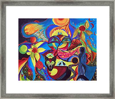 Framed Print featuring the painting Night Of The Wolf by Marina Petro