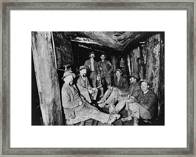 Seven Miners Pose For A Photograph Framed Print