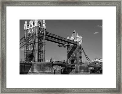 Framed Print featuring the photograph Seven Seconds - The Tower Bridge Hawker Hunter Incident Bw Versio by Gary Eason