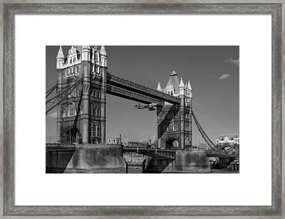 Seven Seconds - The Tower Bridge Hawker Hunter Incident Bw Versio Framed Print