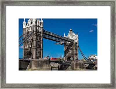 Framed Print featuring the photograph Seven Seconds - The Tower Bridge Hawker Hunter Incident  by Gary Eason