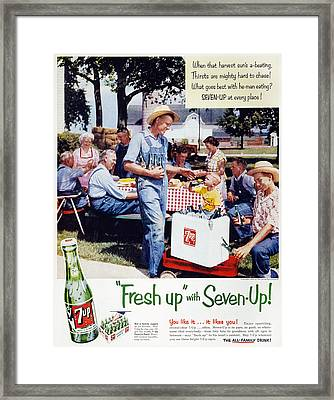 Seven-up Soda Ad, 1954 Framed Print by Granger
