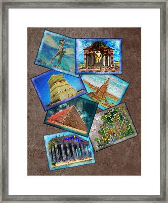 Seven Wonders Of The Ancient World Framed Print by Edelberto Cabrera