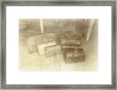 Several Vintage Bags On Floor Framed Print