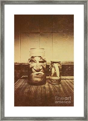 Severed And Preserved Head And Hand In Jars Framed Print