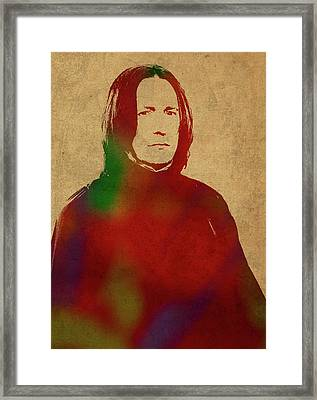 Severus Snape From Harry Potter Watercolor Portrait Framed Print by Design Turnpike