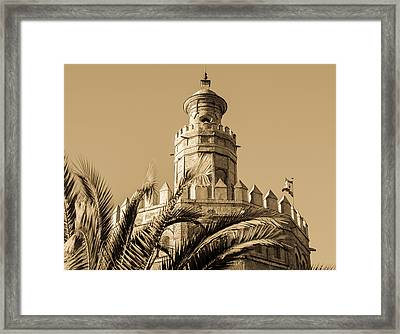 Seville - A View Of Torre Del Oro In Sepia Tones Framed Print