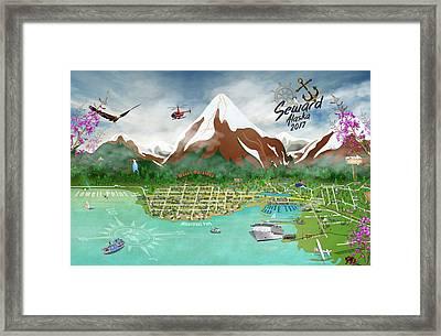 Framed Print featuring the digital art Seward, Alaksa 2017 by Cindy Anderson