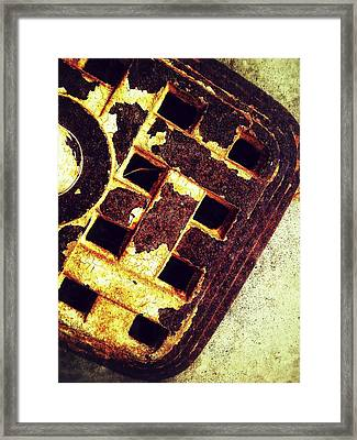 Sewer Drain Framed Print by Olivier Calas