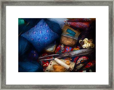 Sewing - Devoting To Sewing  Framed Print by Mike Savad
