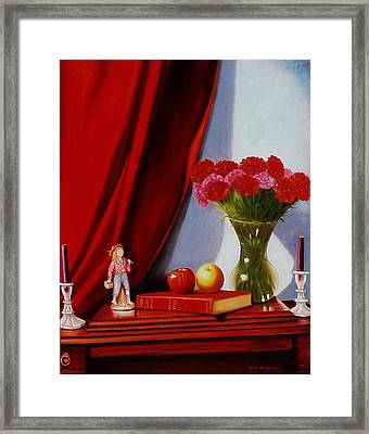 Framed Print featuring the painting Sewing Carnations by Gene Gregory