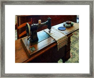Sewing Machine And Pincushions Framed Print by Susan Savad