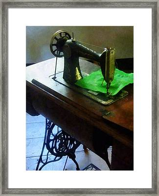 Sewing Machine With Green Cloth Framed Print