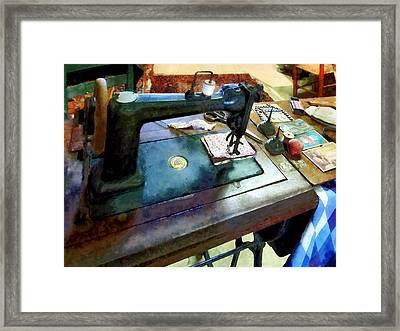 Sewing Machine With Sissors Framed Print