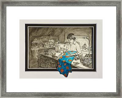 Sewing Overflowing Framed Print by Vic Delnore
