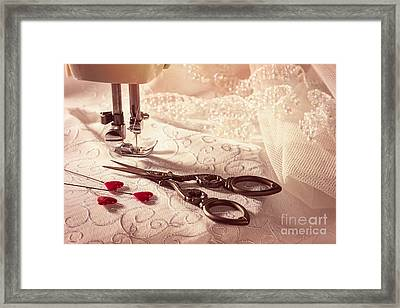 Sewing Scissors With Heart Shaped Pins Framed Print