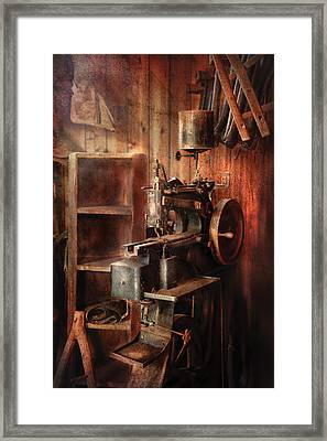 Sewing - Sewing Machine For Saddle Making Framed Print by Mike Savad