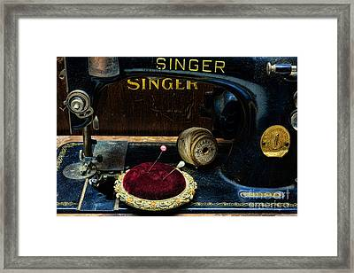 Sewing - Victorian Pin Cushion - Singer Sewing Machine Framed Print by Paul Ward