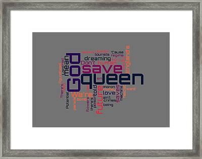 Sex Pistols - God Save The Queen Lyrical Cloud Framed Print by Susan Maxwell Schmidt