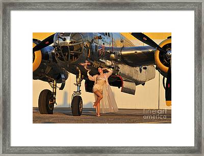 Sexy 1940s Pin-up Girl In Lingerie Framed Print