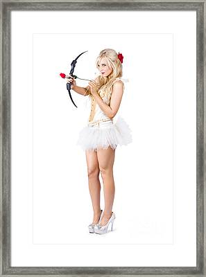 Sexy Cupid In High Heels With Red Rose Framed Print