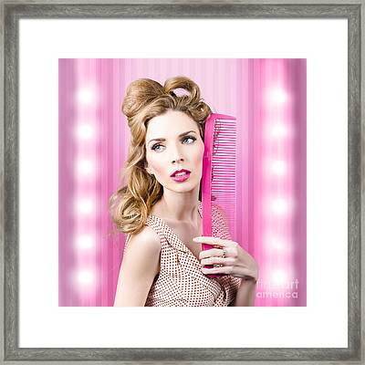 Sexy Girl With Brown Hair Style. Fashion Faux Pas Framed Print