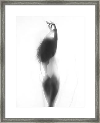 Sexy Nude Woman Back Silhouette Behind White Smoky Curtain Framed Print