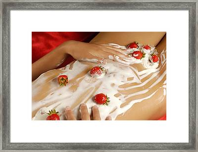 Sexy Nude Woman Body Covered With Cream And Strawberries Framed Print