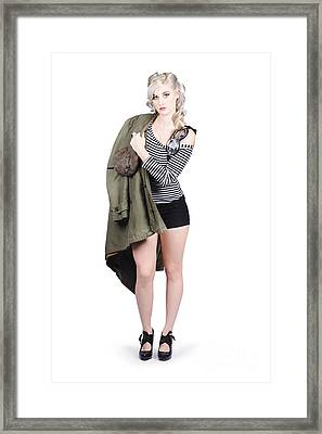 Sexy Pin-up Aviator Girl Isolated On White Framed Print by Jorgo Photography - Wall Art Gallery