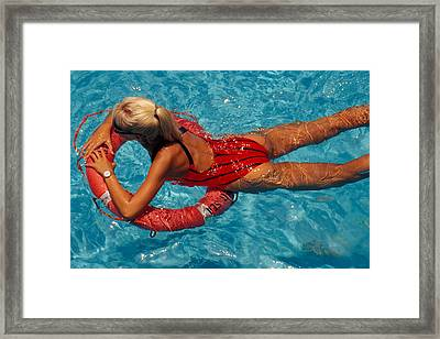 Sexy Red Bikini Framed Print by Carl Purcell