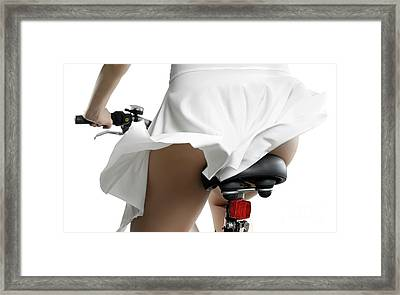 Sexy Woman In Dress Riding Bicycle Art Print Framed Print