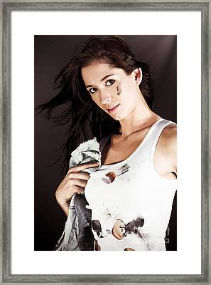 Sexy Young Mechanic Framed Print by Jorgo Photography - Wall Art Gallery