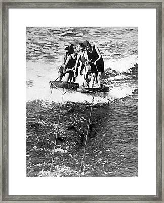 Sf Aquaplane Lovers Framed Print by Underwood Archives