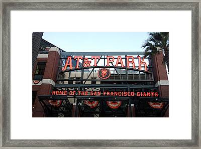Sf Giants Stadium Framed Print by Kathleen Fitzpatrick
