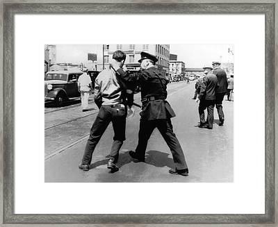 Sf Striker Arrested Framed Print by Underwood Archives